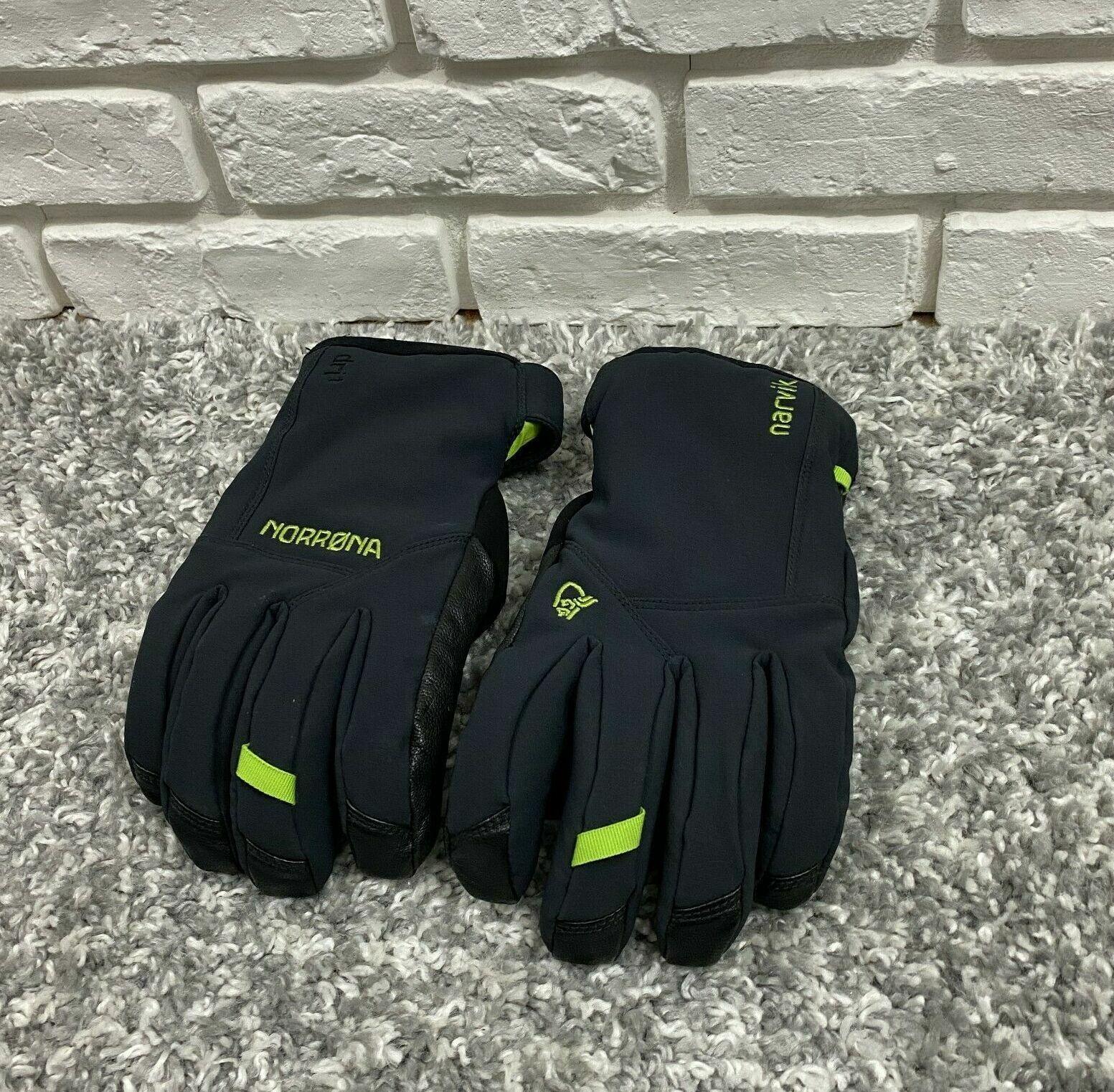 Norrona NARVIK DRI1 Insulated Short Gloves Caviar Black Green Size L Winter