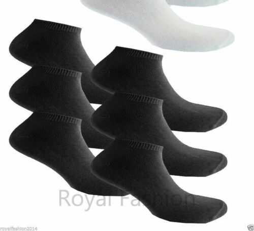 12 PAIRS Men/'s Ladies PLAIN TRAINER LINER ANKLE Socks Size 6-11 4-6 Black White