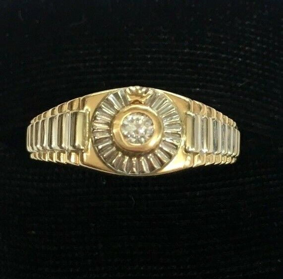 14K Two-Tone Solid gold .20 Carat Round Diamond President Style Ring -size 13.75
