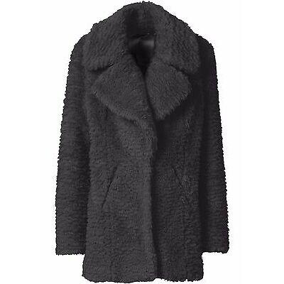 Damen Kuscheliger Fellimitat Mantel mit großem Kragen NEU