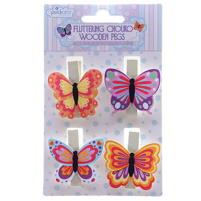 "3 Packs of 4 (12) Colourful Chouko Butterfly Pegs Charming ""Fluttering"" Designs"
