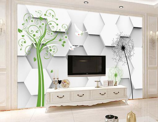 3D Löwenzahn Und Baum 422 Tapete Tapeten Mauer Foto Familie Tapete Wandgemälde