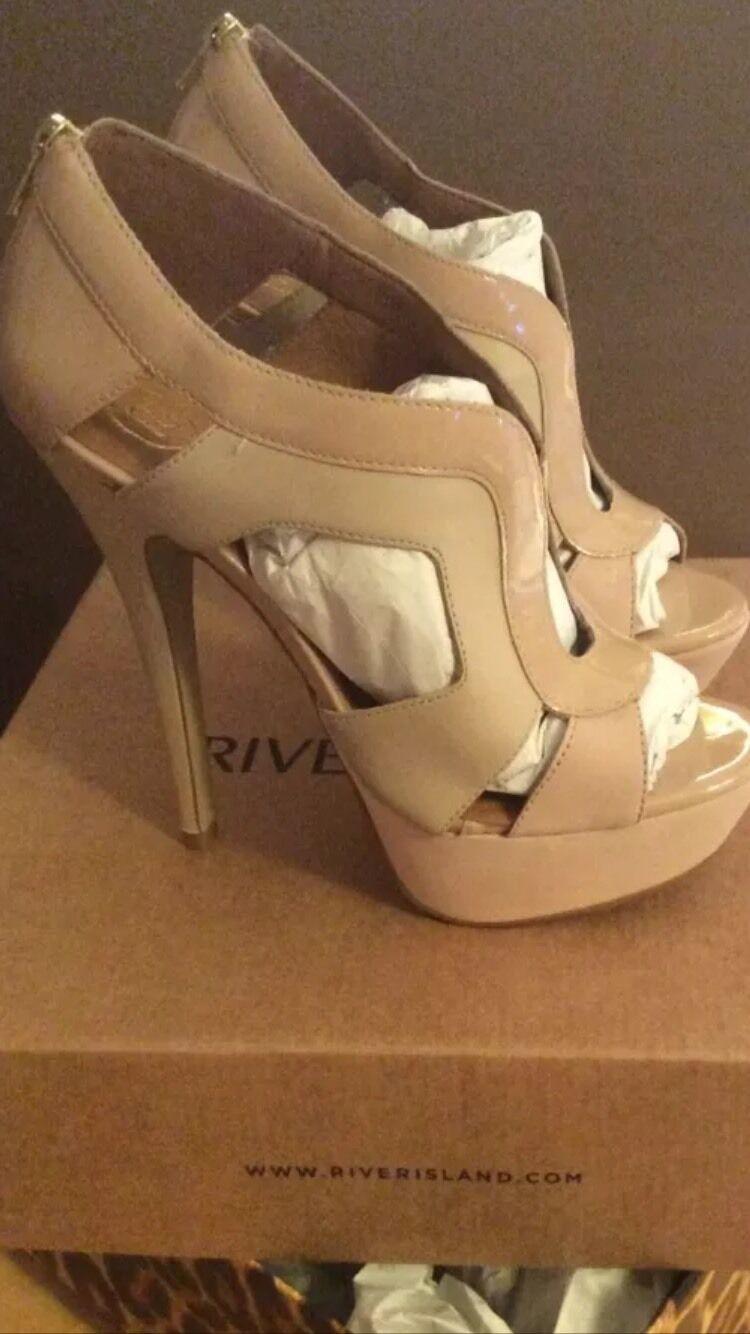 River Island Light Pink Leder and Suede Heels Price Drop