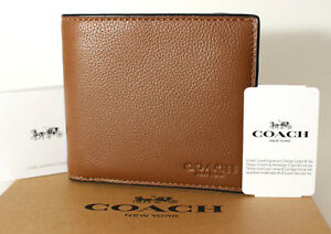 d4e53c7f829c Image is loading Coach-Mens-Double-Billfold-Sport-Calf-Leather-Wallet-