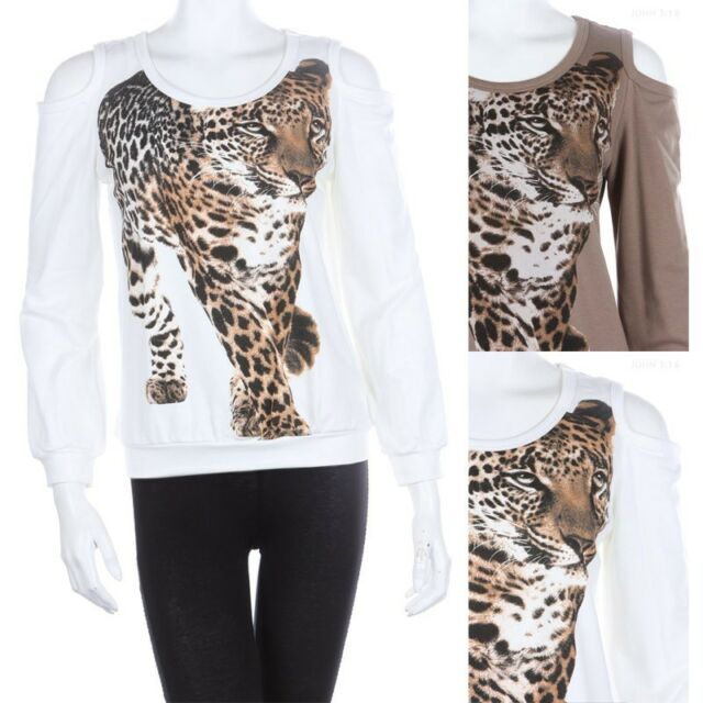 Cheetah Print Open Shoulder Long Sleeve Casual Sweater Top Comfy Cotton S M L