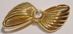 Broche élégant Bijou Rétro Noeud Couleur Or Solitaire Cristal Diamant 1907