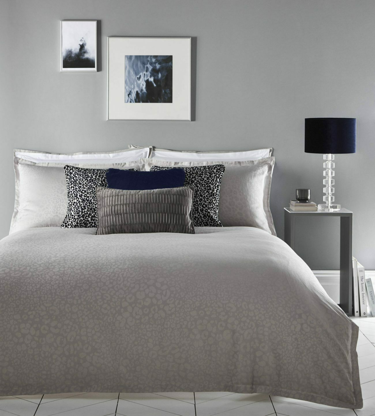 KAREN MILLEN Luxury Leopard Print Jacquard grau Bedding Duvet Set ALL GrößeS