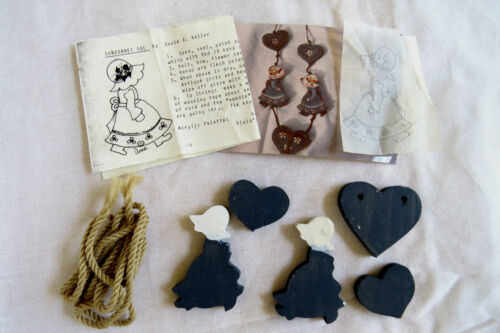 DOXIE KELLER READY TO PAINT WOOD PIECE ROPE NECKLACE SUNBONNET SUE & HEARTS