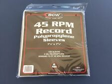 100 - BCW 45 RPM Record Poly Sleeves 7 3/8 X 7 5/8 - Acid Free Archival 2-Mil