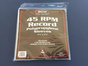 100-BCW-45-RPM-Record-Poly-Sleeves-7-3-8-X-7-5-8-Acid-Free-Archival-2-Mil