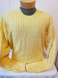 Tommy Hilfiger Mens Yellow Crew Neck Cable Knit Long Sleeve Sweater Xl Ebay