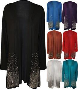 New-Women-Ladies-Long-Sleeve-Sequin-Glitter-Sparkle-Open-Cardigan-Plus-Size