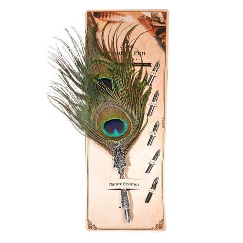 Metal Classic Peacock Fashion Movie Feather Dip Pen Dip Fountain Pen 5 Nibs