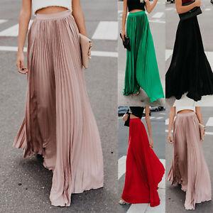 Women-039-s-Pleated-Long-Maxi-Skirt-Elastic-Waist-Evening-Cocktail-Party-Swing-Dress