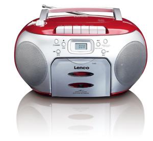 Lenco SCD-420 UKW Radio-CD-Kassetten-Spieler Teleskopantenne Aux Anschluss Rot