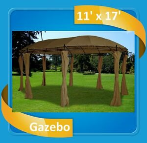 image is loading steel gazebo 11 039 x17 039 deluxe steel