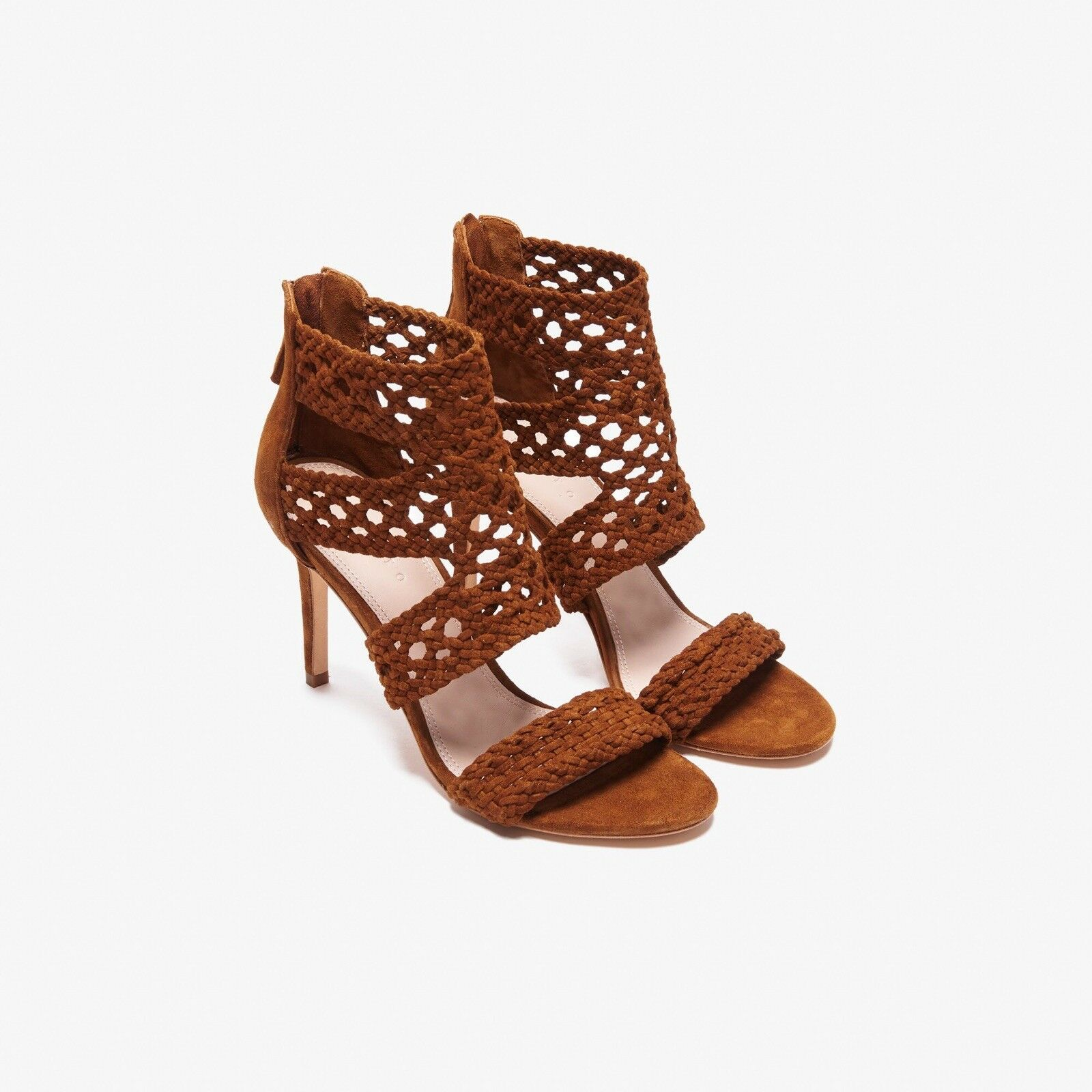 Sandro Suede Heeled Sandals Sz 9.5US 40France Retail  570  Agate Brown color