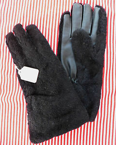 Ladies vintage black furry gloves UNUSED English c 1960s Size 7 7.5 Faux leather