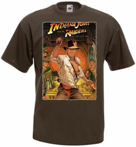 Indiana Jones and the Raiders of the Lost Ark Poster v.2 T Shirt Marron Toutes Tailles