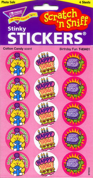 Birthday CANDY FLOSS Scratch and Sniff reward Stickers