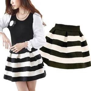 0363ff810 Image is loading Spring-Fashion-Black-White-Striped-Elastic-Flare-Short-