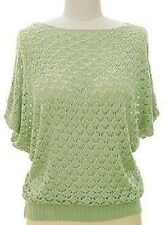 Dolman Sleeve Open Knit Diamond Pattern Pullover Sweater Light Green S/M NWT