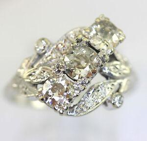 Antique Diamond Ring 14k White Gold Round Brilliant Old