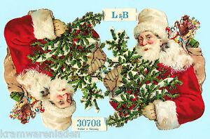 2-uralte-gepraegte-Weihnachtsmaenner-Oblaten-L-amp-B-30708-DIE-CUT-SCRAPS