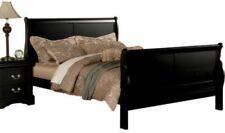 California Cal King Size Sleigh Bed Frame Black Wood Headboard Footboard Bedroom