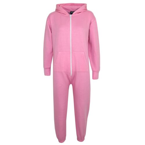 Unisex Kids Girls Boys Plain Colour Fleece Hooded A2Z Onesie One Piece 5-13 Year