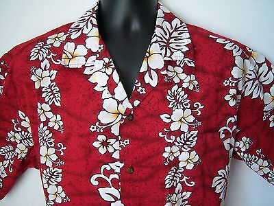 Men's XL Original Hawaiian Shirt Red Aloha Floral Short Sl Button-front Cotton