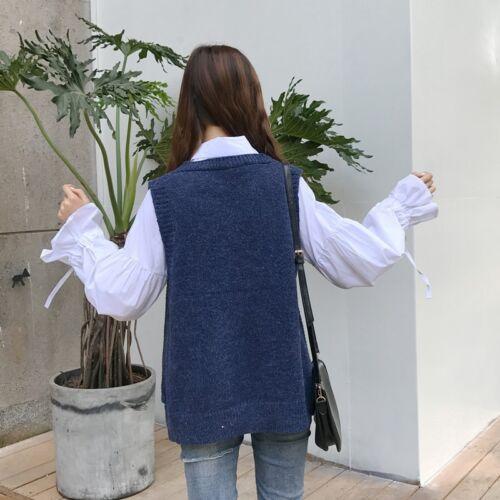 Women Casual Loose V Neck Wool Jumper Sweater Knit Sleeveless Vest Waistcoat Top