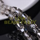 New 5pcs 14mm Big Cube Square Crystal Glass Loose Spacer Beads Clear Gray