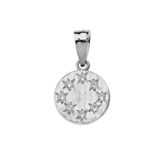 Solid 10k White Gold Hammered Diamond Round Pendant Necklace
