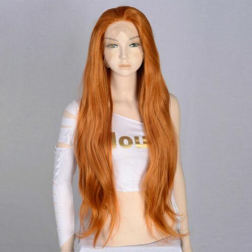 "Heat Front Orange Wavy Lace mit Fasching 24/"" Cap Resistant Synthetic Wig Damen"