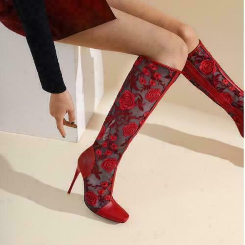 Details about  /Women/'s Chic Mesh Floral Embroidered High Heel Knee High Riding Boots Shoes BEIO