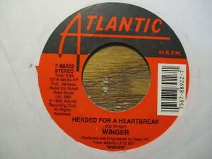 """WINGER """"HEADED FOR A HEARTBREAK"""" 45 RPM"""