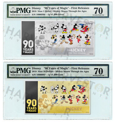 PMG 70 FIRST RELEASES 5G COIN NOTE 2018 SILVER MICKEY MOUSE 90TH ANNIVERSARY