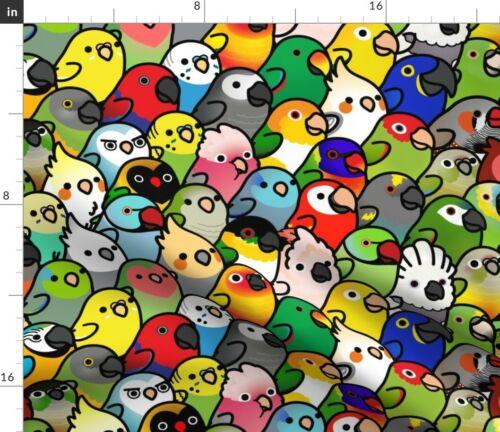 Bird Crowd Cute Nursery Decor Parrots Lovebird Fabric Printed by Spoonflower BTY