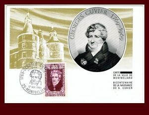1969-FDC-CARTE-1er-JOUR-GEORGES-CUVIER-HORS-COMMERCE-N-124-TIMBRE-1595