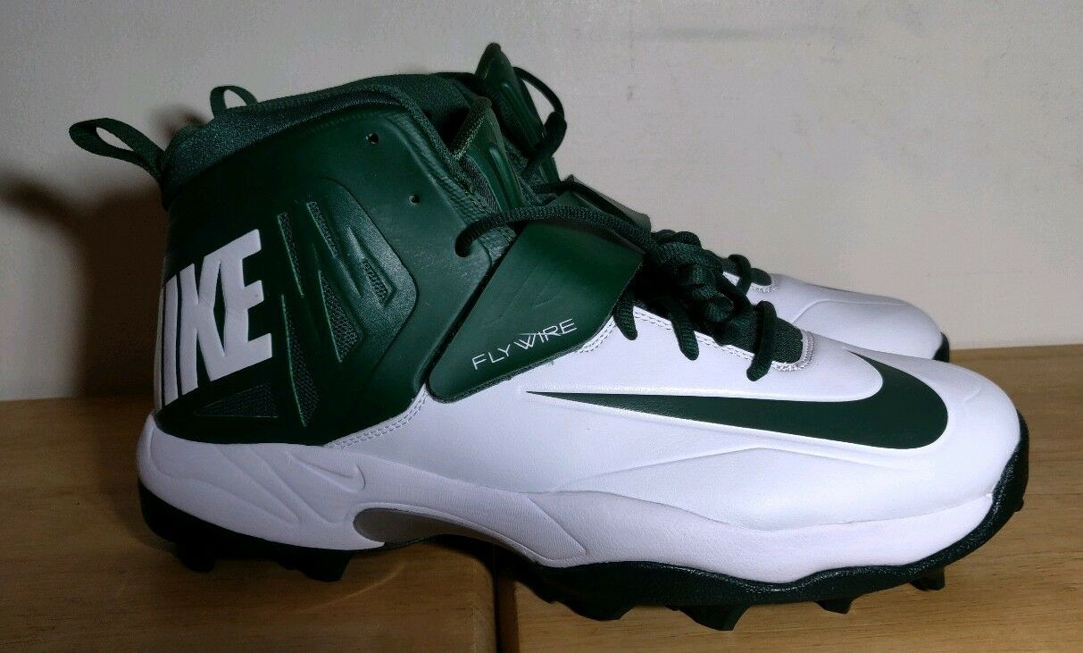 NIKE FLYWIRE Football Cleats 603350 -131 Green White Men's Size 15