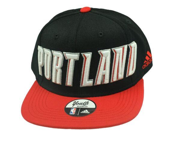 cheaper ae9a4 1a534 NBA Portland Trail Blazers Hat Youth Flat Brim Snap Back Official Adidas  Boys
