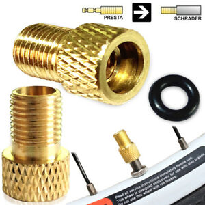 2-x-brass-adaptor-presta-to-schrader-bicycle-valve-converter-bike-pump-connector