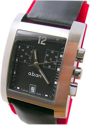 a.b.art S 104 Herrenuhr Edelstahl Leder schwarz abart Chronograph swiss made