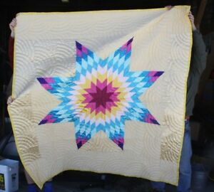 New Native American Yellow Star Quilt 68x76 Amazing Craftsmanship