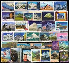 Mountains on Stamps from Nepal-Used-36 All Different with High Value Up to Rs.35