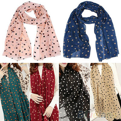 Women's Lady Girl Fashion Polka Dot Printing Chiffon Long Scarf Shawl Wraps B27U