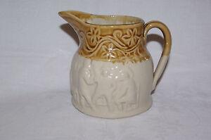 Vintage-Buchan-Portobello-Moulded-Stoneware-Hunting-Jug-Edinburgh-Scotland