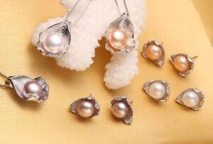 Sterling-Silver-925-Pendant-Necklace-Earrings-Genuine-Freshwater-Pearl-Zircon-UK