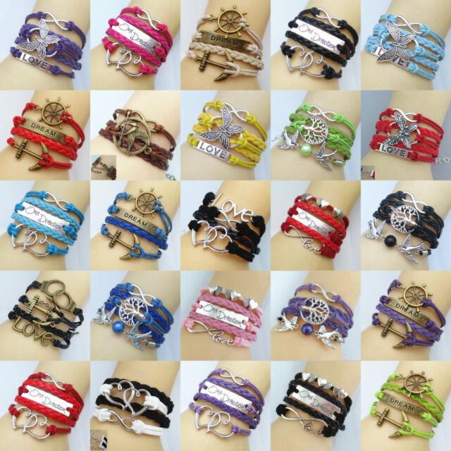 Charm Fashion Handmade Infinity Anchor Rudder Leather Friendship Lovers Bracelet